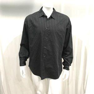 John Varvatos Mens Black Paisley Button Shirt